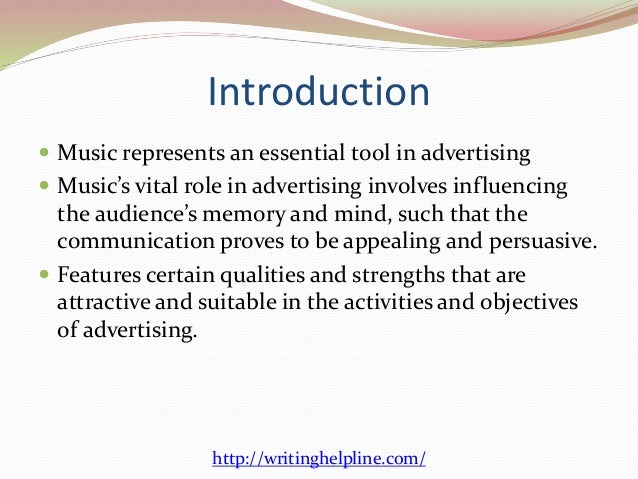 role of music Music is a crucial element of everyday life people spend hours listening to it and billions of dollars buying it yet despite the pervasiveness of music, mainstream social‐personality psychology has hardly given any attention to this universal social phenomenon.