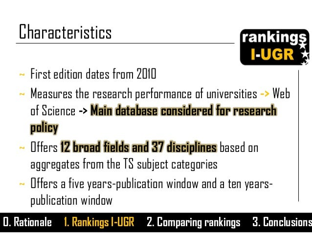 ~ First edition dates from 2010 ~ Measures the research performance of universities -> Web of Science -> Main database con...
