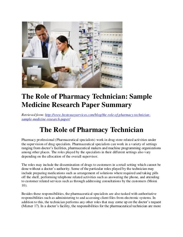 Research paper pharmacist