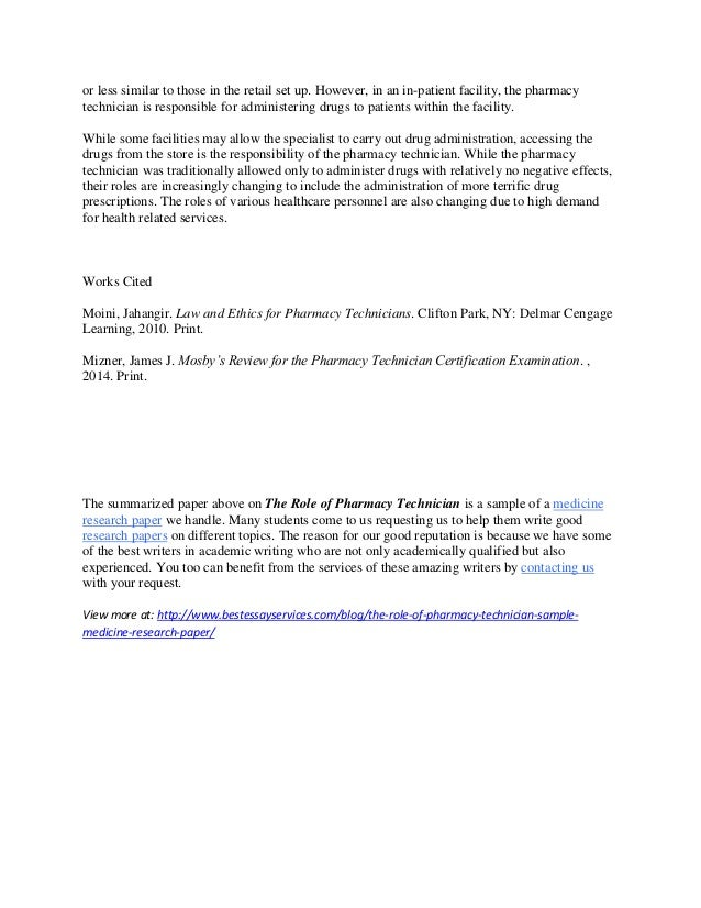 The Role of Pharmacy Technician: Sample Medicine Research Paper Summa…