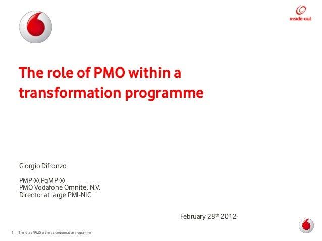 The role of PMO within a    transformation programme    Giorgio Difronzo    PMP ®,PgMP ®    PMO Vodafone Omnitel N.V.    D...