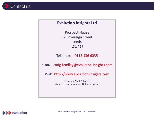 Contact us                      Evolution Insights Ltd                             Prospect House                         ...