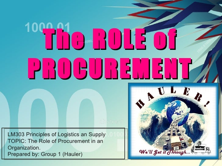 The ROLE of PROCUREMENT LM303 Principles of Logistics an Supply TOPIC: The Role of Procurement in an Organization. Prepare...