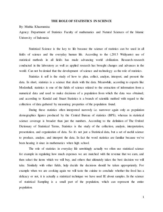 Essay Term Paper  The Role Of Statistics In Science By Muthia Khaerunnisa Agency  Department Of Statistics  Examples Of English Essays also Top English Essays The Role Of Statistics In Science Essay Essay Thesis Statement