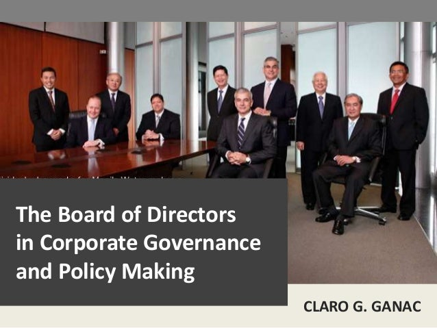 Corporate governance policy making and