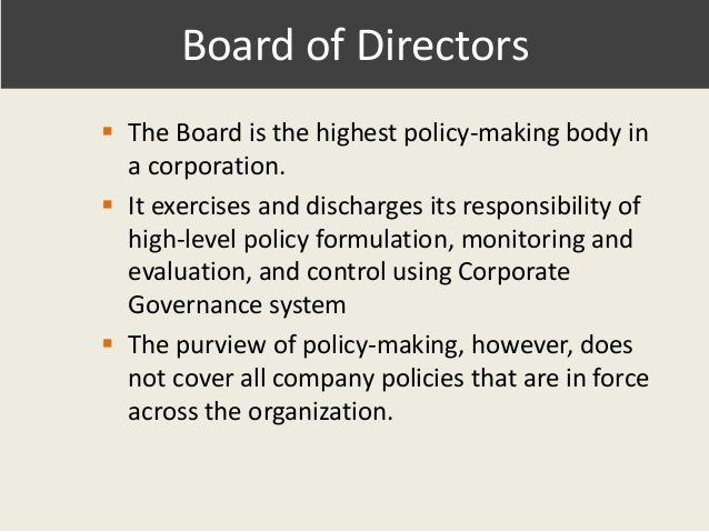 ithe impact of corporate governance and To elaborate, corporate governance impacts all aspects of an organization, from communication to leadership and strategic decision-making, but it primarily involves the board of directors, how the board conducts itself and how it governs the company.
