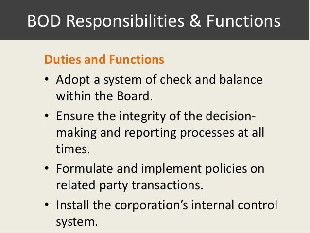 The roles of policy formulation decision making and oversight in the board