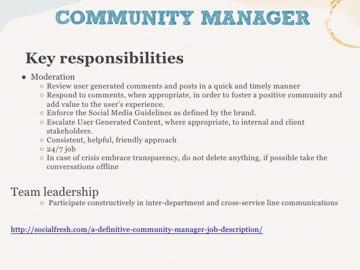 The role of the community manager
