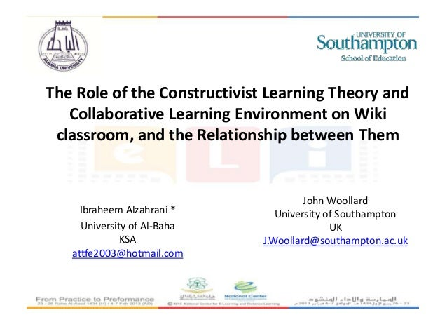 The Role of the Constructivist Learning Theory and   Collaborative Learning Environment on Wiki classroom, and the Relatio...