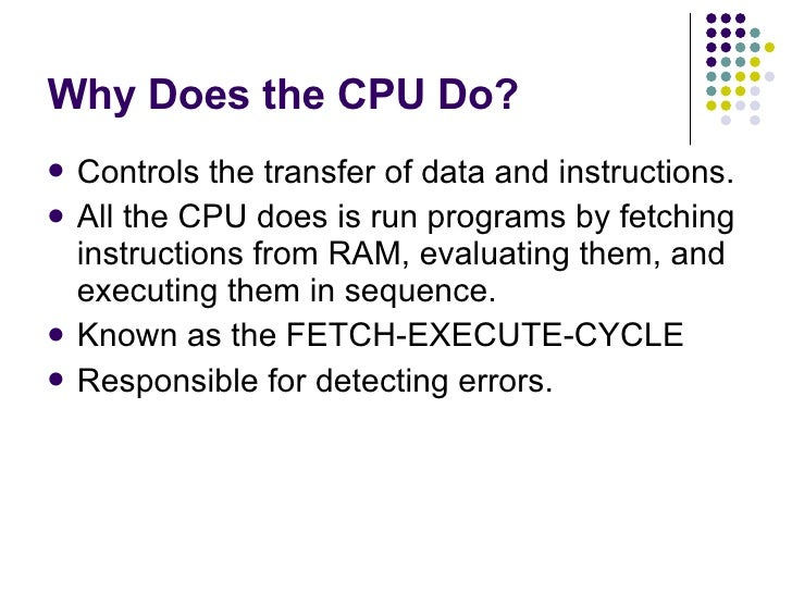 The Role Of The Cpu