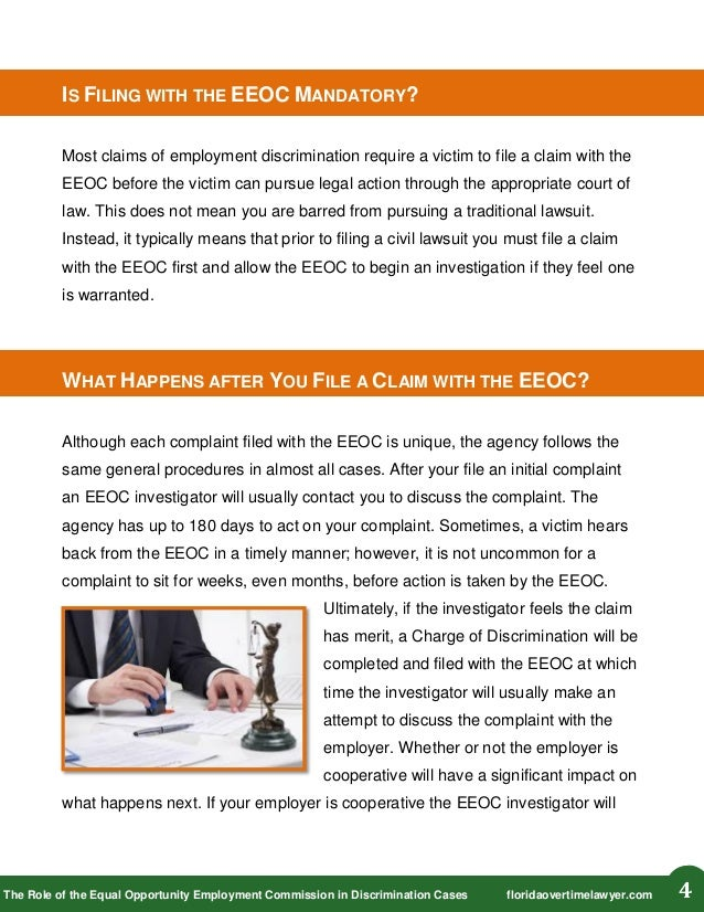 The Role Of The Equal Opportunity Employment Commision Eeoc In Disc