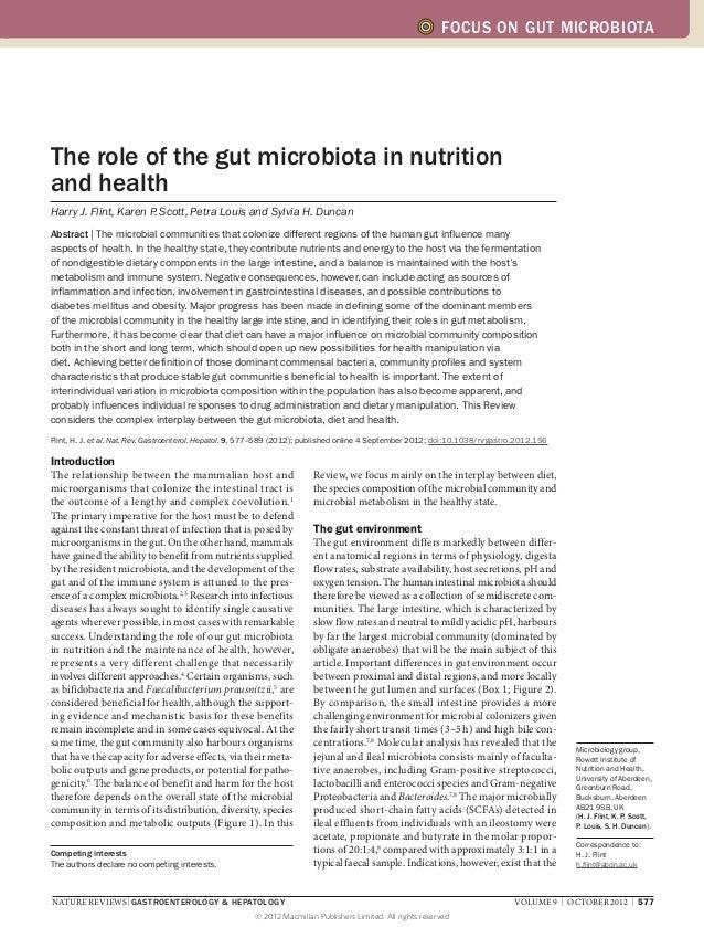 FOCUS ON GUT MICROBIOTAThe role of the gut microbiota in nutritionand healthHarry J. Flint, Karen P Scott, Petra Louis and...