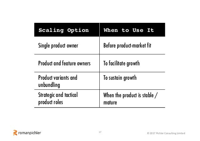 17 ©2017PichlerConsultingLimited Scaling Option When to Use It Strategic and tactical product roles When the product i...