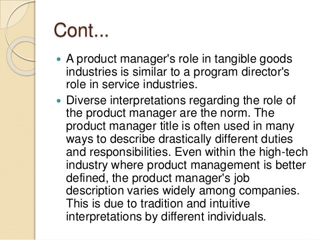 The role product manager – Product Manager Job Description