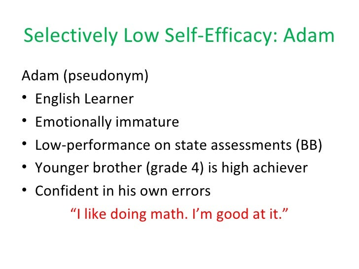 math self efficacy Math self-efficacy made an independent contribution to the problem-solving performance of regular education students ( = 387) and of gifted students ( = 455) in a path model that controlled for the effects of math anxiety, cognitive ability, mathematics grades, self-efficacy for self-regulatory learning, and sex.