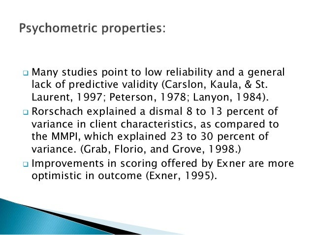  Many studies point to low reliability and a general lack of predictive validity (Carslon, Kaula, & St. Laurent, 1997; Pe...