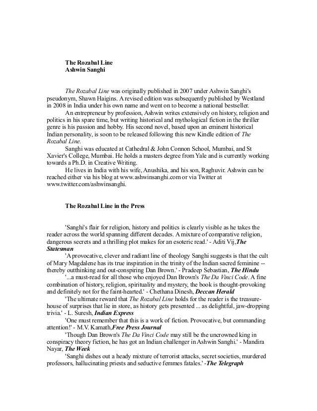 The Rozabal Line       Ashwin Sanghi        The Rozabal Line was originally published in 2007 under Ashwin Sanghispseudony...