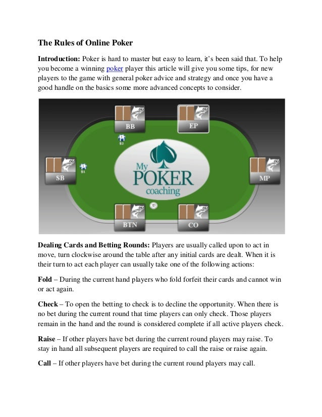 The Rules Of Online Poker