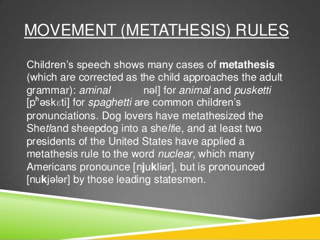 metathesis phonology Phonology is the study of the sounds of a language metathesis: sounds are reversed in order (ie aks for ask or pasketti for spaghetti) in the classroom, insertion issues may be noticed in students' writing.