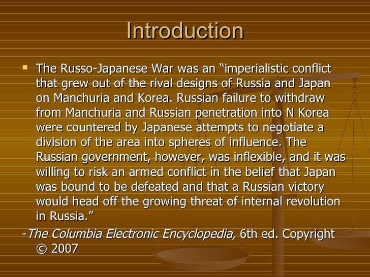 russo-japanese war research paper Russo-japanese war and the pacific war student name: institutional affiliation thesis statement this paper explores a brief introduction of the russo-japanese war and.