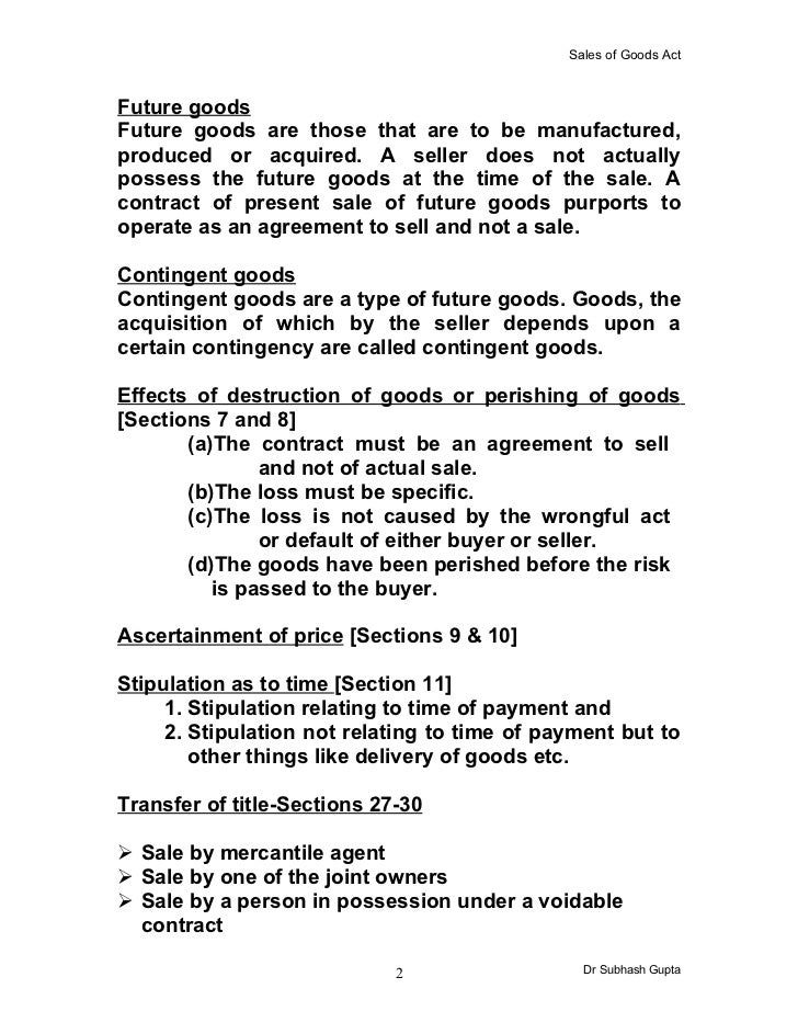 The Sale Of Goods Act Slide 2