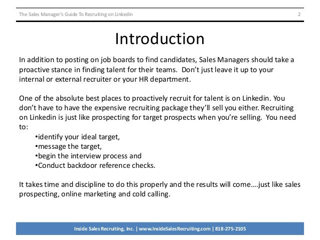 The Sales Manager S Guide To Recruiting On Linkedin V2091414