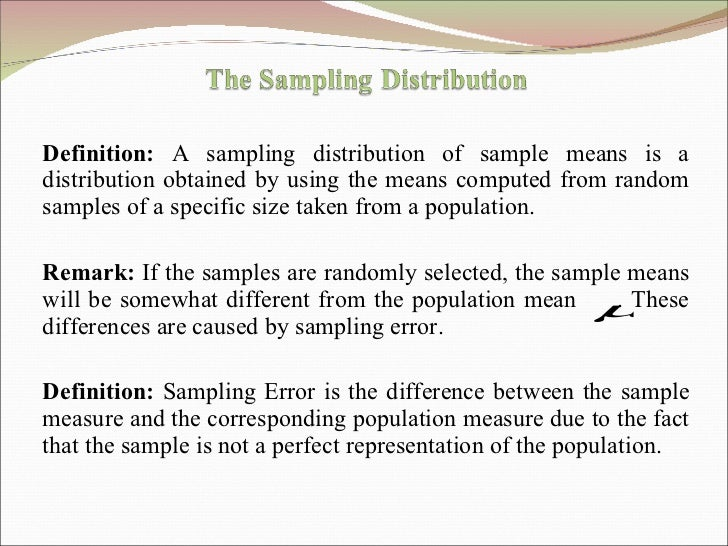 Definition:  A sampling distribution of sample means is a distribution obtained by using the means computed from random sa...