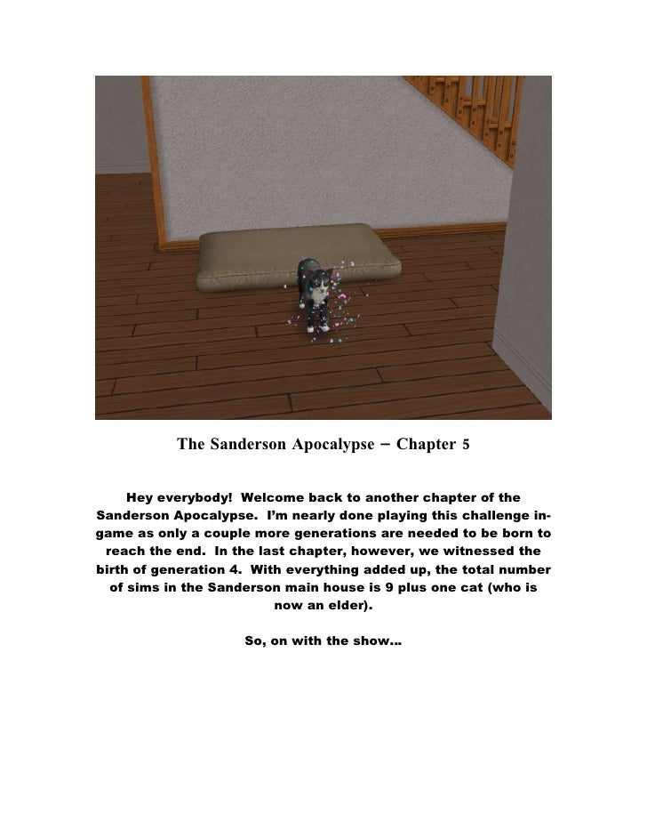 The Sanderson Apocalypse – Chapter 5        Hey everybody! Welcome back to another chapter of the Sanderson Apocalypse. I'...