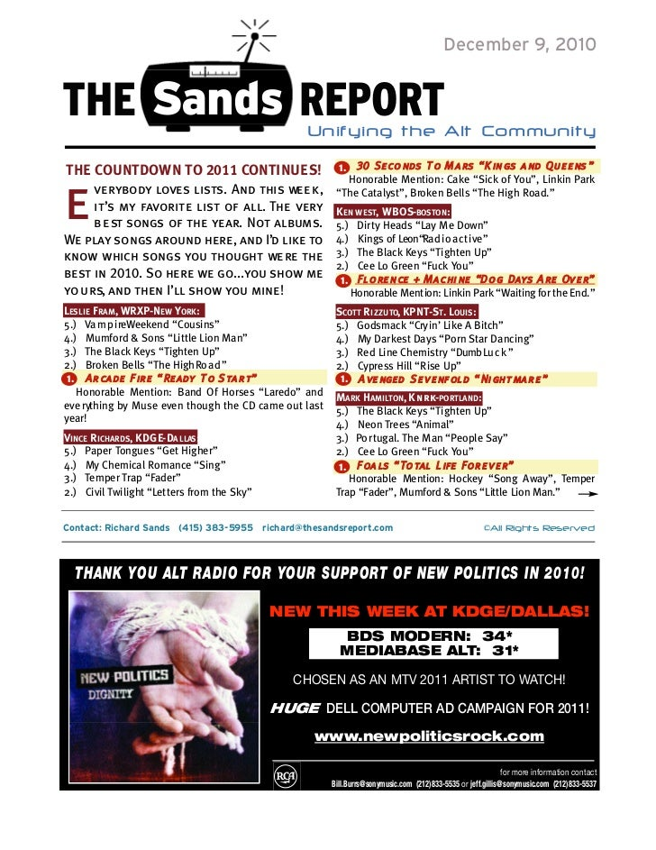 December 9, 2010THE Sands REPORT                                Unifying the Alt Community                             ...