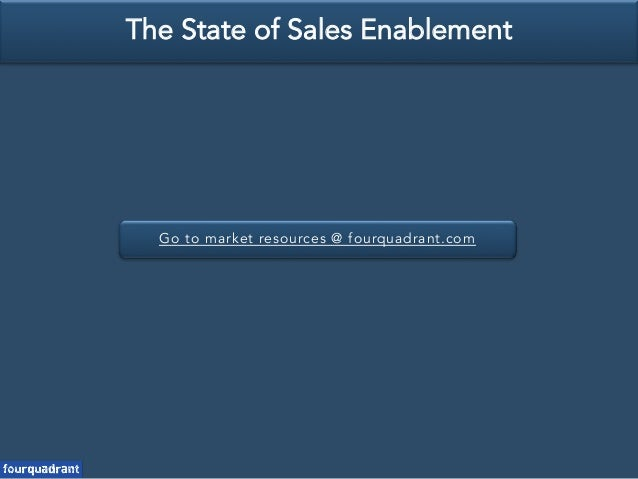 Go to market resources @ fourquadrant.com The State of Sales Enablement