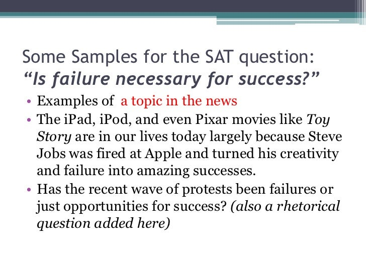 sample sat essays The sat essay: building a repertoire of examples page 1 2006, 2008, and 2010 c brantley collins, jr the sat essay: building a repertoire of examples.