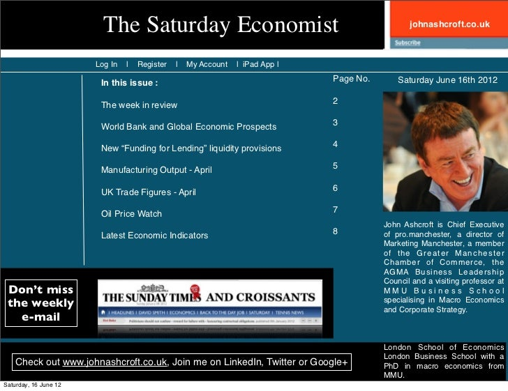 The Saturday Economist                                                  johnashcroft.co.uk                       Log In   ...