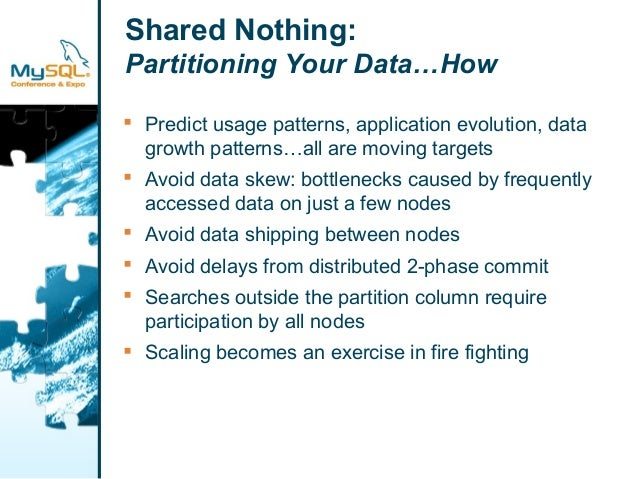 Shared Nothing:  Partitioning Your Data…How   Predict usage patterns, application evolution, data  growth patterns…all ar...