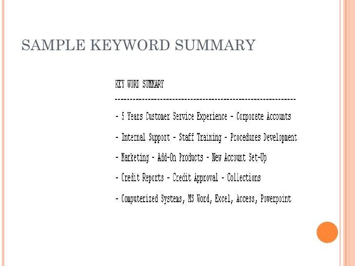 keyword summary on a resume