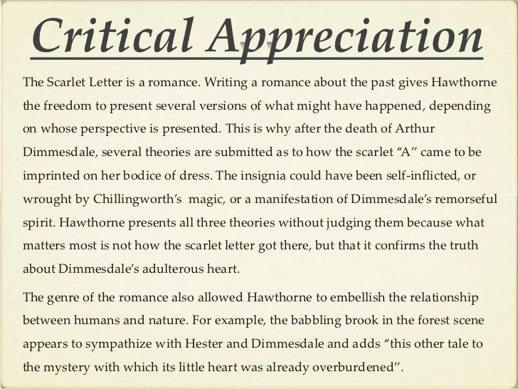 the scarlet letter a psychological analysis The characters in the scarlet letter all suffer isolation as a result of their sins, as arlin turner notes: pearl was born an outcast and remains at war with her world until the expiation of the final confession scene.