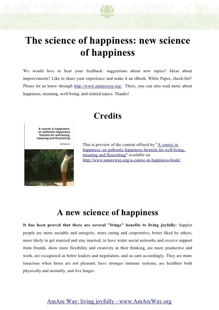 The science of happiness new science of happiness