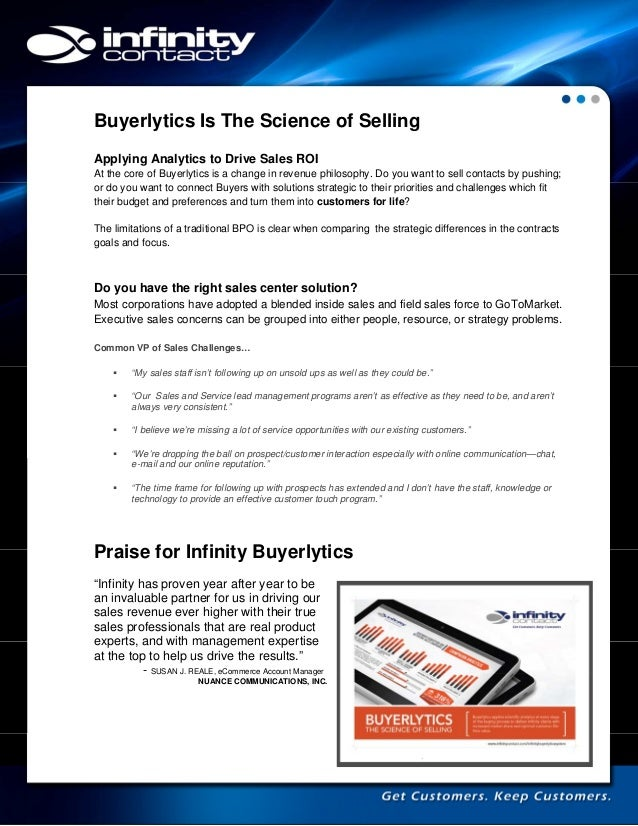 Buyerlytics Is The Science of Selling Applying Analytics to Drive Sales ROI At the core of Buyerlytics is a change in reve...