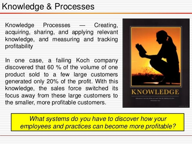 Knowledge & Processes Knowledge Processes — Creating, acquiring, sharing, and applying relevant knowledge, and measuring a...