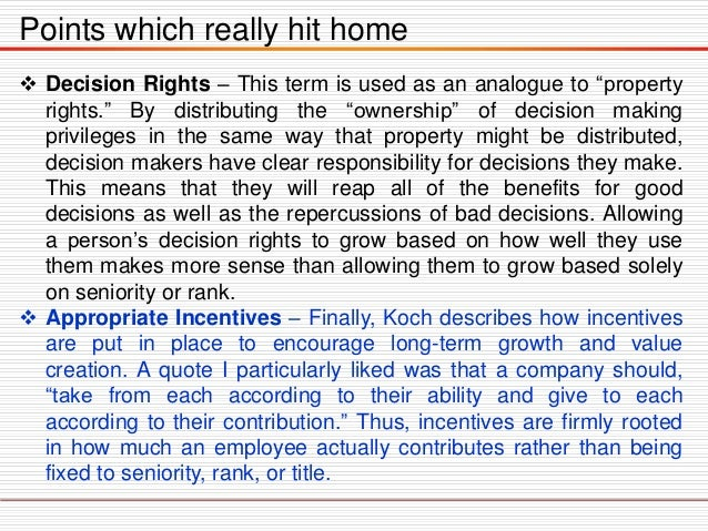"""Points which really hit home  Decision Rights – This term is used as an analogue to """"property rights."""" By distributing th..."""