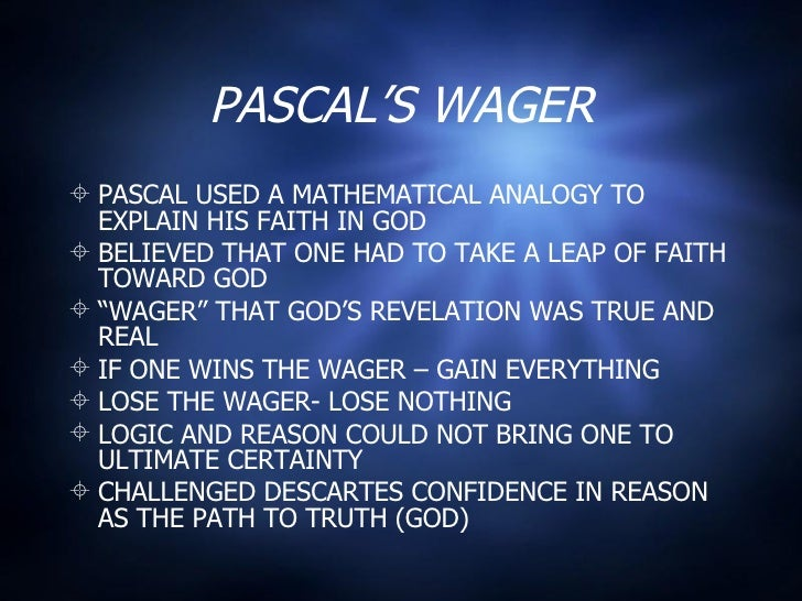 """pascal s wager and anslem s theory of Pascal's wager is often cited as the earliest example of a math-based approach to decision theory"""" tom siegfried, a beautiful math: john nash, game theory, and the modern quest for a code of nature (washington, d c: joseph henry press, 2006), 198."""