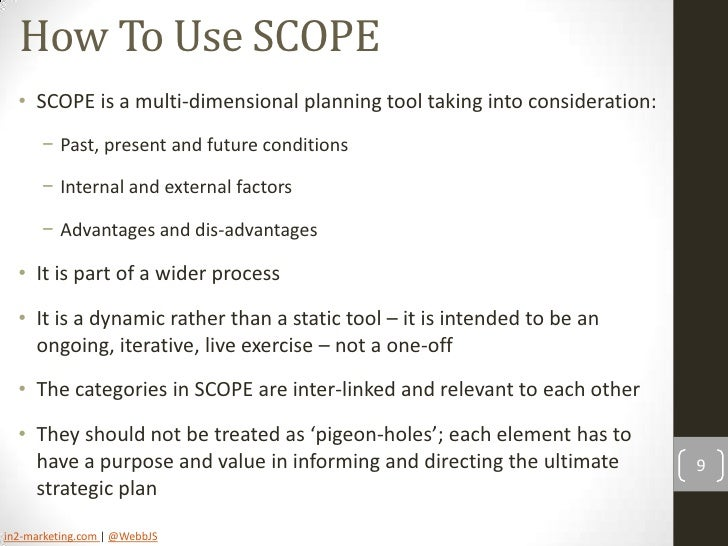 scope situational analysis 5 complete situation analysis defining your project • project people • project scope and focal targets developing strategies & measures • target viability.