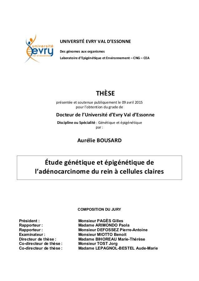 UNIVERSITÉ  EVRY  VAL  D'ESSONNE   Des  génomes  aux  organismes   Laboratoire  d'Epigénétiq...