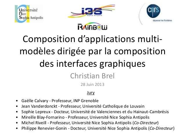 Composition d'applications multi- modèles dirigée par la composition des interfaces graphiques Christian Brel 28 Juin 2013...