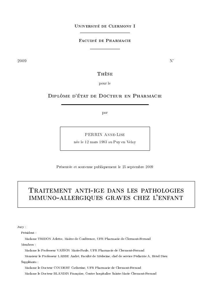 Université de Clermont I                                          Faculté de Pharmacie  PHHW                              ...