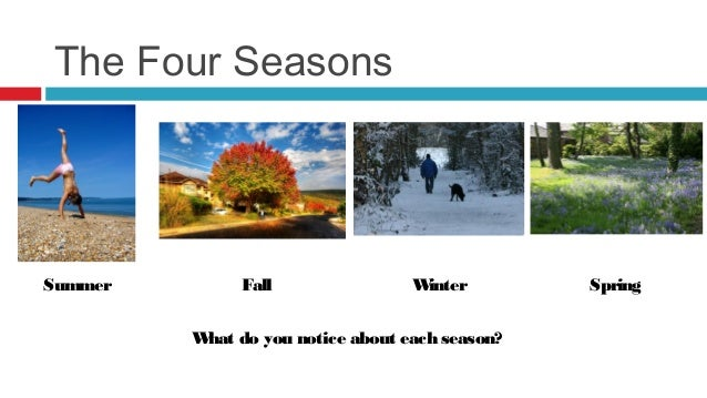 The Four SeasonsSummer        Fall               Winter       Spring         W do you notice about each season?          hat