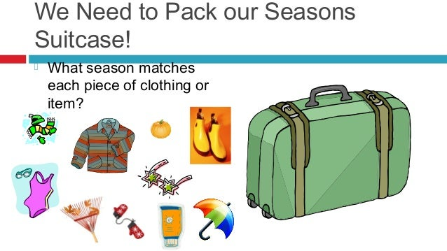 We Need to Pack our SeasonsSuitcase!   What season matches    each piece of clothing or    item?