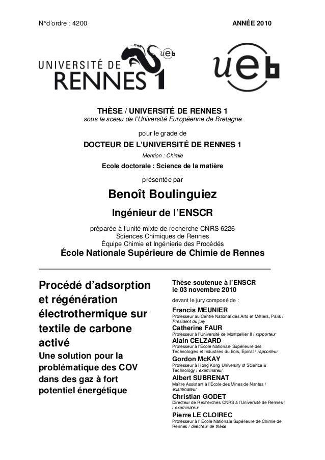 N° d'ordre : 4200  ANNÉE 2010  THÈSE / UNIVERSITÉ DE RENNES 1 sous le sceau de l'Université Européenne de Bretagne pour le...
