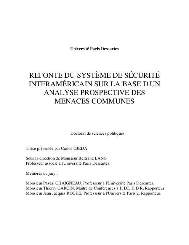Université Paris Descartes REFONTE DU SYSTÈME DE SÉCURITÉ INTERAMÉRICAIN SUR LA BASE DUN     ANALYSE PROSPECTIVE DES      ...
