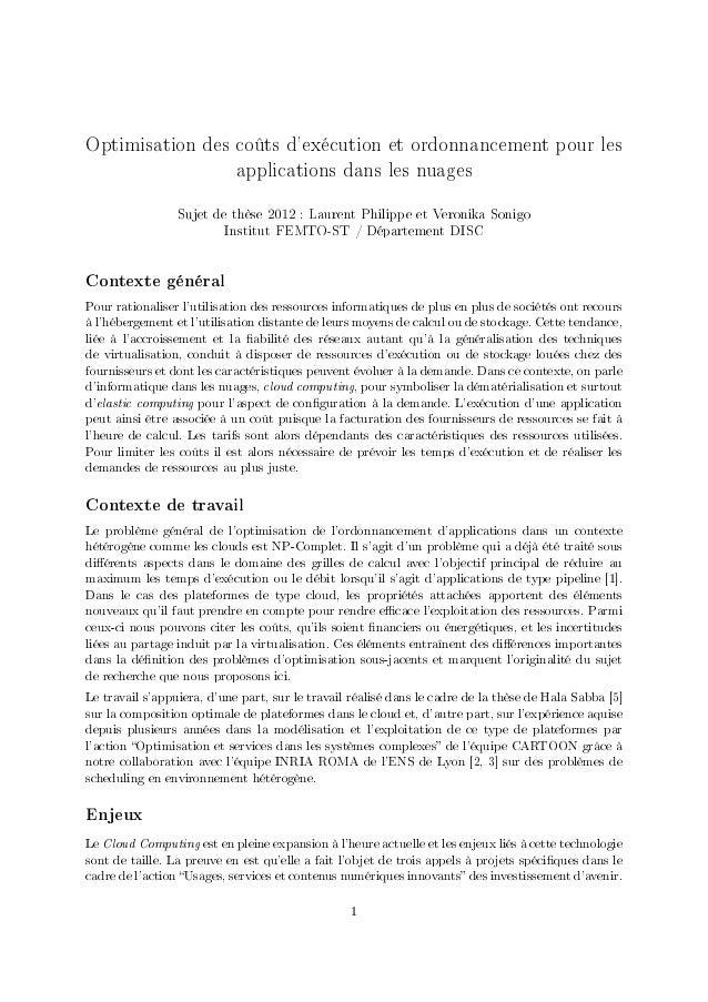 Optimisation des coûts dexécution et ordonnancement pour les                            applications dans les nuages      ...