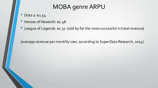 MOBA genre ARPU • Dota 2: $1.54 • Heroes of Newerth: $1.48 • League of Legends: $1.32 (still by far the most successful in...